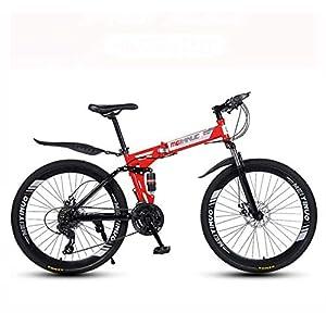 41Bk8H praL. SS300 GASLIKE Bicicletta Pieghevole per Mountain Bike, Bici MTB a Sospensione Completa Telaio in Acciaio al Carbonio, Doppio…
