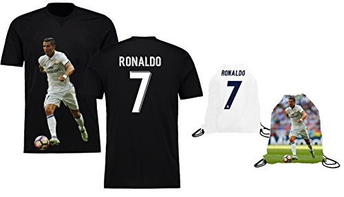 fan products of Ronaldo Jersey Style T-shirt Kids Cristiano Ronaldo Jersey T-shirt Gift Set Youth Sizes ✓ Premium Quality ✓ ✓ Soccer Backpack Gift Packaging (YM 8-10 Years Old, Ronaldo)