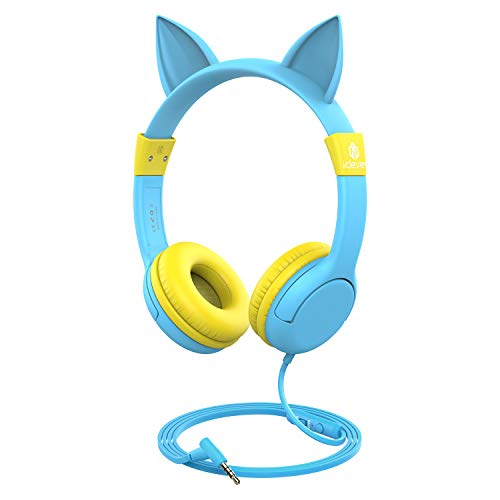 [Upgrade] iClever Boostcare Kids Headphones, Cat Ear Hello Kitty Headphones for Kids on Ear for Boys Girls, Adjustable 85/94dB Volume Control, Childrens Headphones with MIC for Tablet, Blue/Yellow