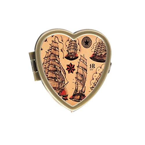 Sailor Heart Tattoo (Sailor Jerry Tattoo Two Compartments Pocket bronze heart Pill Box)