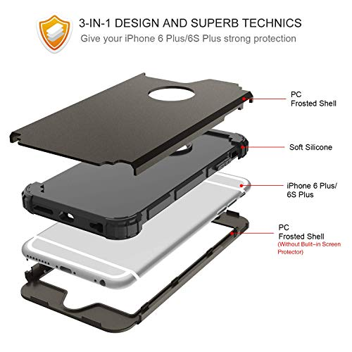 iPhone 6S Plus Case, iPhone 6 Plus Case, BENTOBEN Heavy Duty Rugged Shockproof 3 in 1 Hybrid Hard PC Soft Silicone…