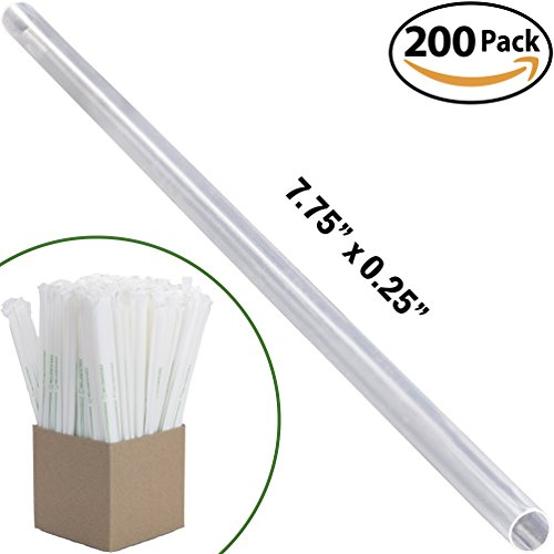 Clear Plastic Biodegradable Straws 200 Bulk Pack. Reduce Your Carbon Footprint With a Compostable, Plant-Based, Eco-Friendly Drinking Straw! Individually Wrapped, Proudly USA-Grown and No Petroleum! (Tall Paper Pulp)