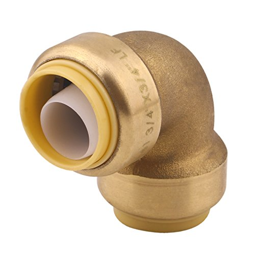 90 Degree Elbow Plumbing Fitting Pipe Connector, 3/4 Inch, PEX Fittings, Push-to-Connect, Copper, CPVC, Pack of 1
