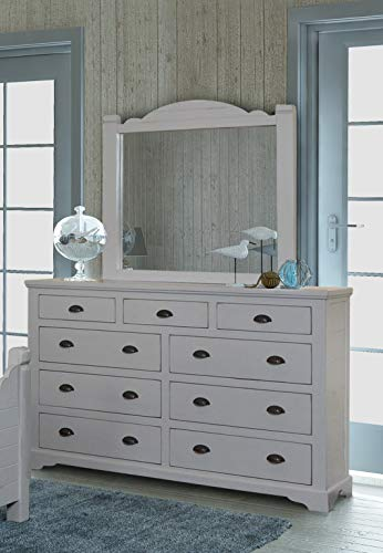 Sunset Trading HH-4270-310_320 Coastal Charm Dresser & Mirror, Passion Gray