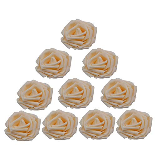 (entertainment-moment 30Pcs Artificial 8Cm Pe Foam Rose Flower Heads Wedding Bouquet Party Home Decorative Wreath DIY Flower Ball Wedding Decoration,Champagne)