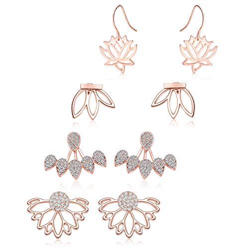 (Zhenhui Lotus Flower Earrings 4 Pairs Crystal Ear Jacket Studs Earrings for Women Girls,Simple Chic Jewelry (4 Pcs Rose Gold))