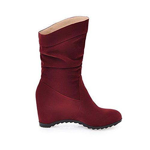 Solid Pull Kitten Boots Toe Round Heels Red On Women's AgooLar Nap FgYq7SPgw