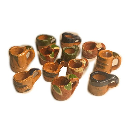 12 Mini Mexican Pottery Ceramic Mud Mugs Jarritos For Arts and Crafts Party Favor Decorations by JDProvisions