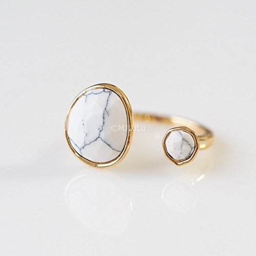Double Stone White Howlite Open Circle Gemstone Ring