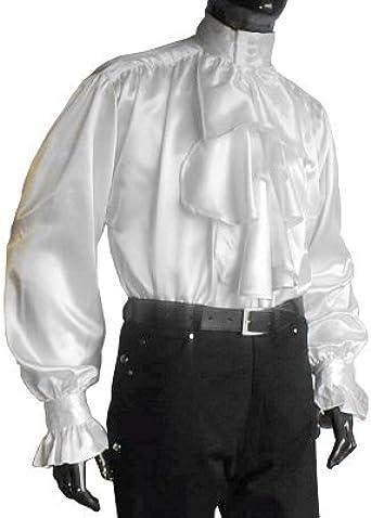 Ropa medieval - Camisa de raso con volantes - blanco - XXL ...
