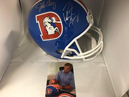 Peyton Manning & John Elway Dual Autographed Signed Full Size Denver Broncos Throwback Helmet Dual Player Holograms Elway & Manning