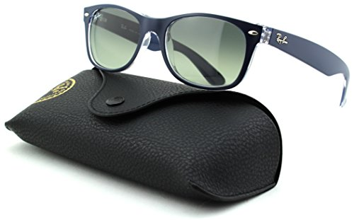 Ray-Ban RB2132 New Wayfarer Gradient Unisex Sunglasses (Matte Blue on Transparent Frame/Grey Gradient Lens 605371, 52)