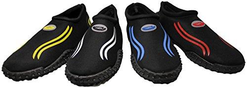 Einfache Männer & Frauen Wasser Schuhe Pool Beach Aqua Socken, Übung Kordelzug Schwarz / Royal