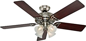 Hunter Indoor Ceiling Fan, with pull chain control – Studio Series 52 inch, Brushed Nickel, 53064