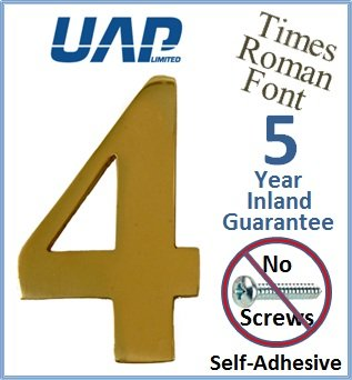 3' Times Roman Self Adhesive Door Numeral - Number 4 - Polished Brass - No Screws Needed UAP