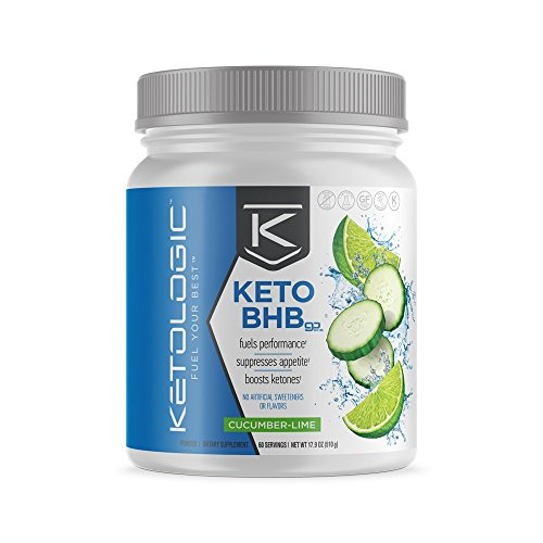 KetoLogic BHB – Keto Supplement – Suppresses Appetite / Increases Energy / Low Carb / Electrolytes / Beta-Hydroxybutyrate Salts – Cucumber-Lime, 60 -