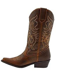 Shoes 18 Womens Faux Leather Western Cowboy Boots W/Traditional Embroidery