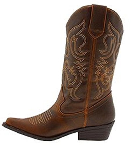 Shoes 18 Womens Faux Leather Western Cowboy Boots W/Traditional Embroidery (7, Cognac 6314 Tall)