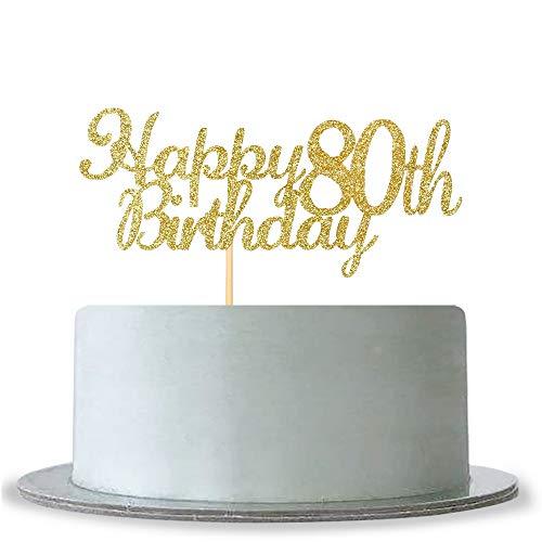 WeBenison Happy 80th Birthday Cake Topper-Gold Glitter Hello 80-80& Fabulous Cake Topper Anniversary Party Decoration -