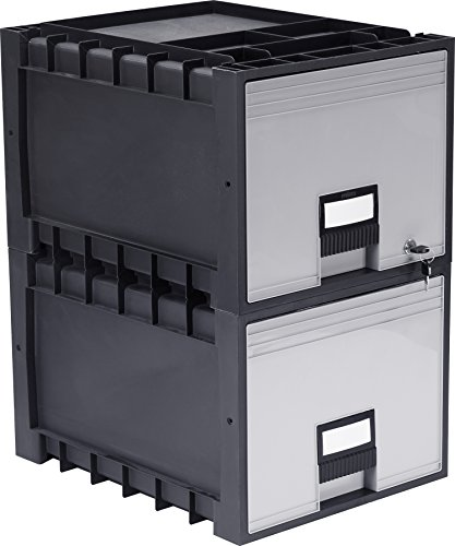 Storex Plastic Archive Storage Drawer with Lock, Letter Size, 18-Inch Drawer, Black, (STX61178U02C), Case of ()