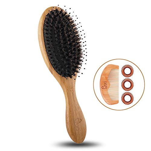 (BLACK EGG Boar Bristle Hair Brush with Added Nylon Pins for all types hair Bamboo Large Paddle Adds Shine and Improves Hair Texture for Women Men Children with Hair Comb & 3 Hair Rings (round))