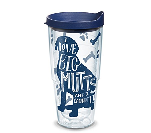 Tervis 1303044 Project Paws I Love Big Mutts and I Cannot Lie iheartDogs 24 oz Tumbler with Navy Lid, Clear