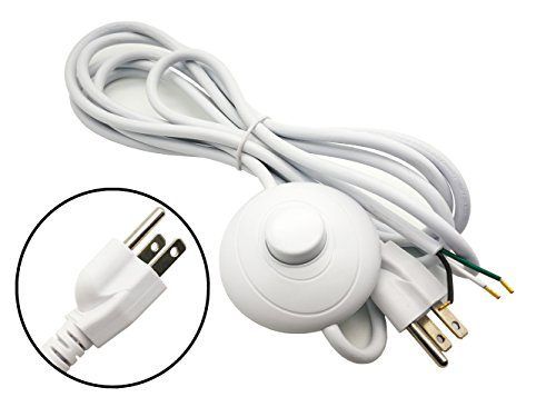 FINE COMMODITIES US Plug SVT 3×18AWG 3M Power Cord on/off Button Switch AC110V 10-15A,White Environmental Protection Materials ()