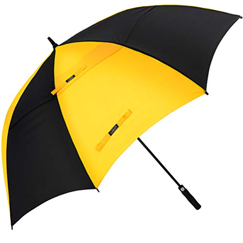 G4Free 68 Inch Automatic Open Golf Long Umbrella Extra Large Oversize Double Canopy Vented Windproof Waterproof Stick Umbrellas (Black/Yellow)