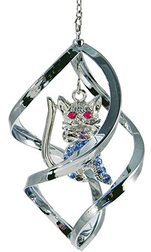 Crystal Delight by Mascot Propelling Spiral Ornaments - Cat or Rabbit (Cat - Pink)