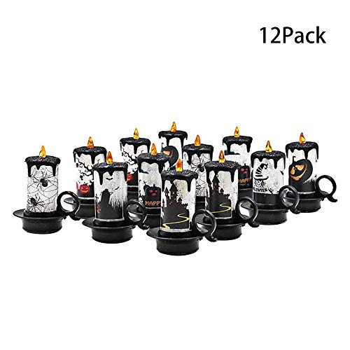 SYLOTS 12 Pcs Fameless LED Tea Light Candles Pumpkin Lantern with Drawing Pumpkin Scorpion Spider Castle Tins Halloween Decoration with 3 Button Batteries, Colored Lights for Holiday Decoration -