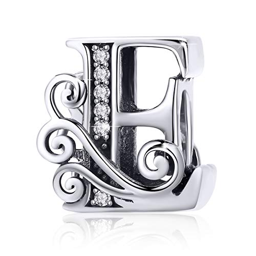 BAMOER 925 Sterling Silver Initial Letter E Charms for Snake Chain Bracelet Necklace Alphabet Beads