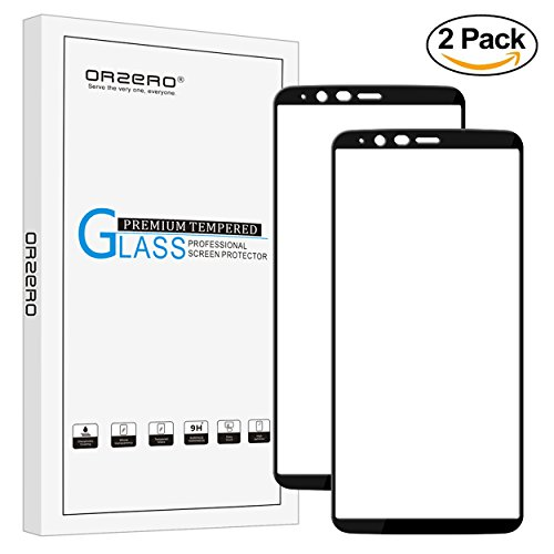 [2 Pack] Orzero For Oneplus 5T Tempered Glass Screen Protector, 2.5D Arc Edges 9 Hardness HD Anti-Scratch [Lifetime Replacement Warranty]
