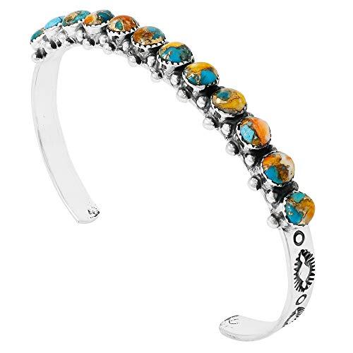(Turquoise Bracelet Sterling Silver 925 Genuine Turquoise Gemstones Cuff Bracelet (Spiny Turquoise))