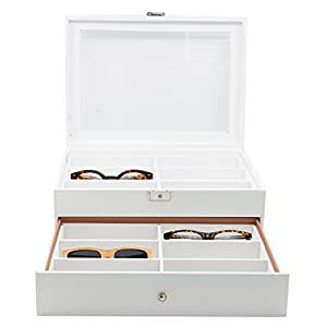 12 Piece Large White Leatherette Eyeglass Sunglass Two Level Glasses Display Case with Drawer Storage Box