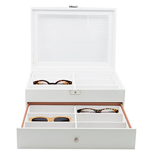 12 Piece Large White Leatherette Eyeglass Sunglass Two Level Glasses Display Case with Drawer Storage Box by TimelyBuys