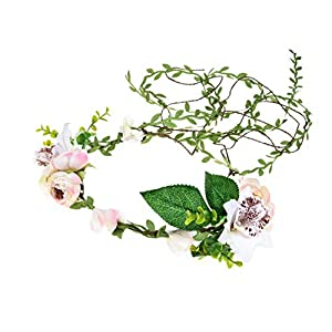 DDazzling Lily Flower Crown Tieback Halo Flower Crown Headband Photo Props (White Purple) 31