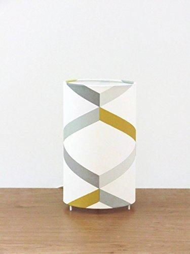 lampe tube motif géométrique scandinave - jaune gris Luminaire original déco chambre idee cadeau anniversaire lampe chevet cadeau crémaillère lampe a poser