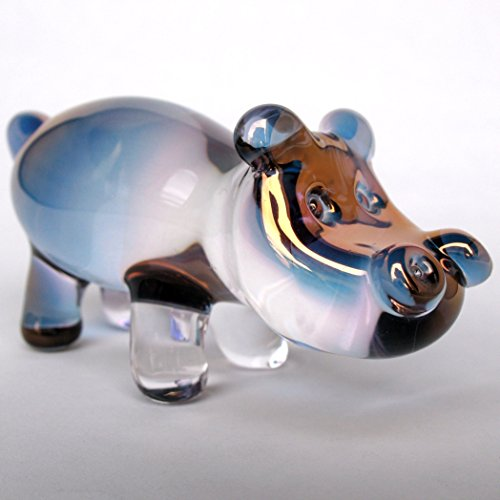 Hippo Hippopotomus Figurine of Hand Blown Glass by Prochaska Gallery