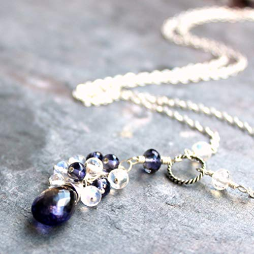 Moonstone Iolite Necklace Sterling Silver Blue Tassel Drop Gemstones ()
