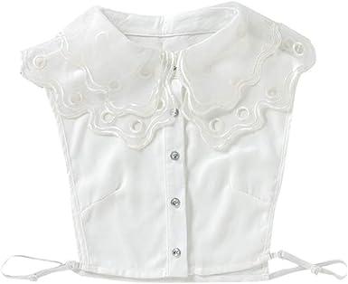 FENICAL camisa bordada mujer cuello falso camisa mujer cuello falso (talla whitefree): Amazon.es: Ropa y accesorios