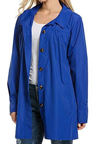 Mupoduvos Women Rain Jacket Casual Hooded Waterproof Lightweight Hoodies Raincoats Blue