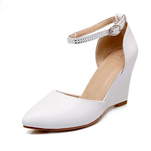 ZHZNVX Sandalias de cuña de las mujeres nuevas tacones altos Baotou sola bolsa de zapatos con la versión coreana de la palabra hebilla con hueco White