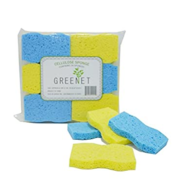 Greenet Cellulose Cleaning Sponges – Pack of 24 100% Natural Kitchen Scrub Sponges + 2 Heavy Duty Scouring Pads - Super Durable, Reusable & Biodegradable, 4.1 x 2.7 x 0.58 Inches