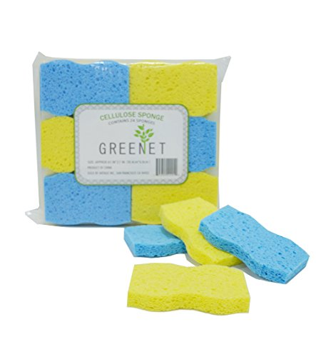 Greenet Cellulose Cleaning Sponges – Pack of 24 100% Natural Kitchen Scrub Sponges + 2 Heavy Duty Scouring Pads - Super Durable, Reusable & Biodegradable, 4.1 x 2.7 x 0.58 Inches (Cellulose Scrub Sponge)