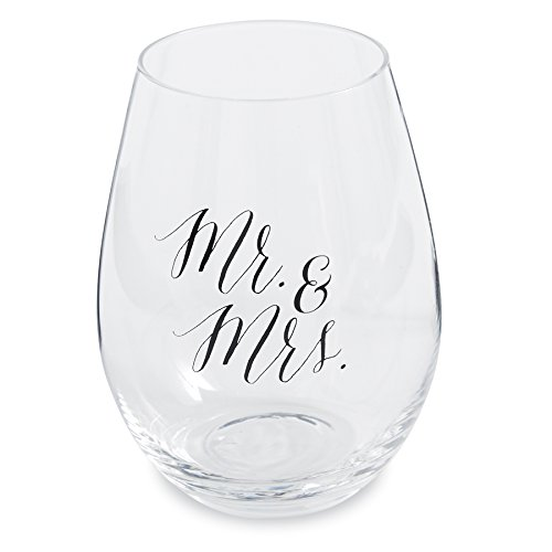 Mud Pie Wedding Stemless Wine Glass (Mr. & Mrs.) - Provincial Cocktail