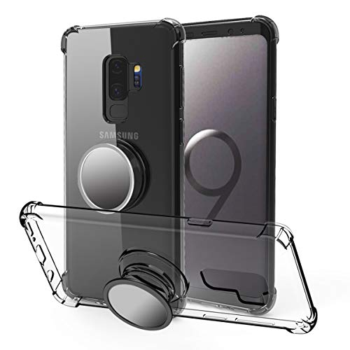 Galaxy S9 Plus Case Slim,Galaxy S9 Plus Case Clear,MISSCASE Premium Soft TPU Protecive Shockproof Case with Stand Grip Iron Mirror [Fit Car Mount] for Galaxy S9 Plus 2018 Black