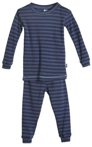 City Threads Boys and Girls Pajama Set Thermal PJ Poly Cotton Long John Fottie Long Sleeve Made in USA, Midnight Stripe, 12 (Fire Retardant Thermal Underwear)