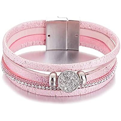 ZUOZUO Leather Wristband Gemstone Rhinestone Magnetic Leather Bracelet And Bracelet Handmade Multi-Layer Package Jewelry Ladies Gift Pulse Estimated Price £17.99 -