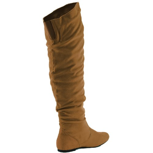 Suede High Flat Low Fashion Heel Over The 5 Slouchly Knee US Camel M Shaft Women's DailyShoes Boots Thigh Hi B 08wZZA