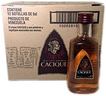 Pack 12 botellitas ron Cacique Añejo 50ml miniatures: Amazon ...